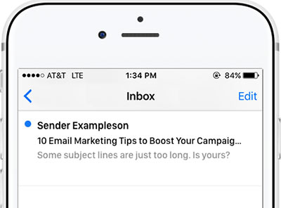 Long subject line on an iPhone screen cut off at the end.