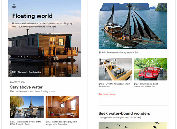 Screenshot of a lead-nurturing email from Airbnb featuring houseboats and ships.