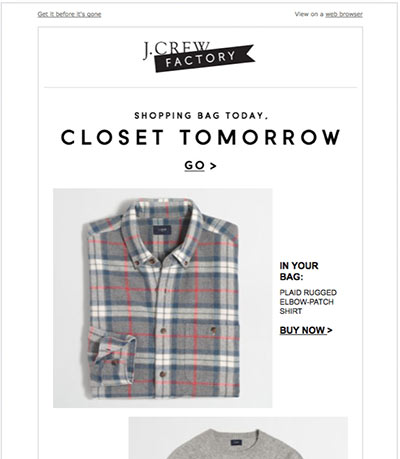Screenshot of a J. Crew abandoned cart email featuring a shirt.