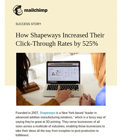 Screenshot of a Mailchimp email highlighting a customer success story.