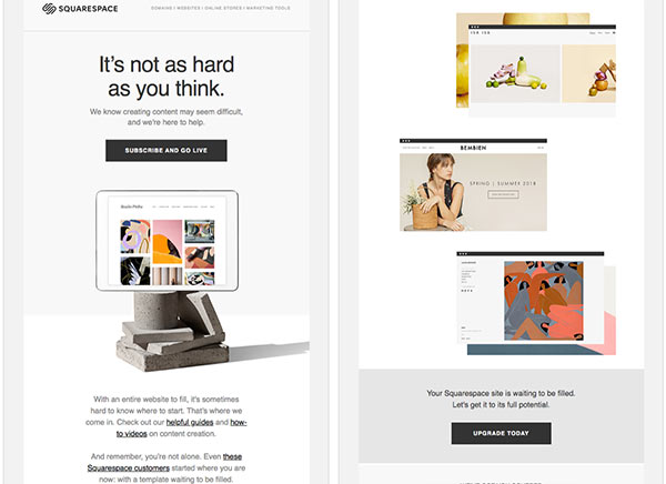 Screenshot of a Squarespace email sent during a free trial.
