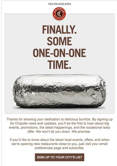 Chipotle welcome email featuring image of a foil-wrapped burrito.