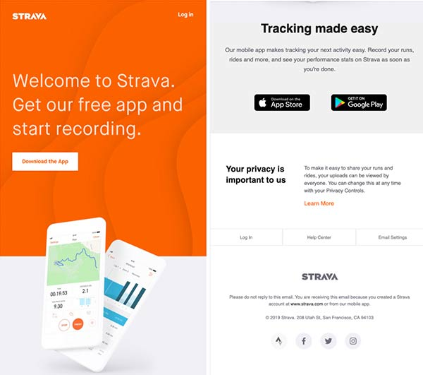 Screenshot of welcome email prompting subscribers to download the Strava app.