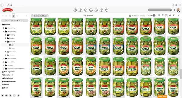 Screenshot von Canto in der Praxis beim Einsatz für Kulmbacher; es zeigt Produktabbildungen.