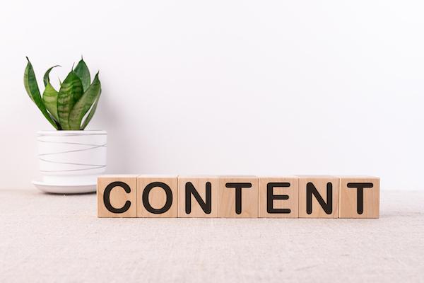 Aus Holzbausteinen setzt sich das Wort 'Inhalte' zusammen.