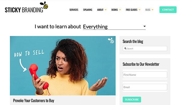 Die Webseite von Sticky Branding.