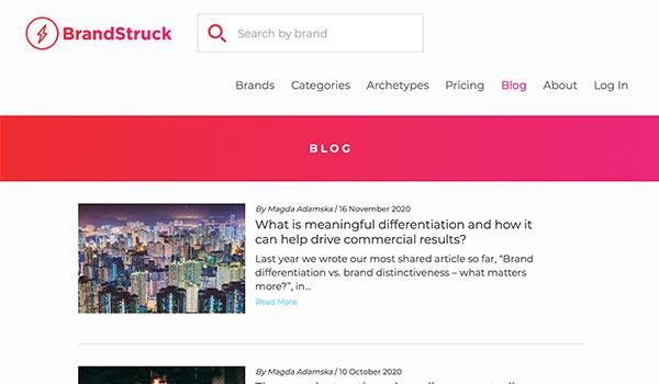 Die Webseite von Brand Struck.