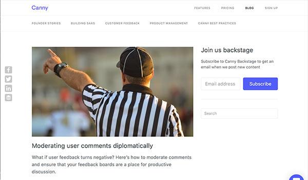 Die Webseite von Canny.