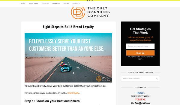 Die Webseite von Cult Branding.