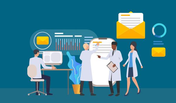 Wissenschaftler im Labor, mit Diagrammen und Bildmaterial aus E-Mails im Hintergrund.