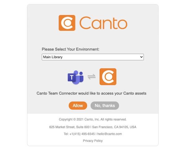 Ein Screenshot zeigt, wie Sie mit dem Canto Connector Ihr Canto Konto in Microsoft Teams einrichten.