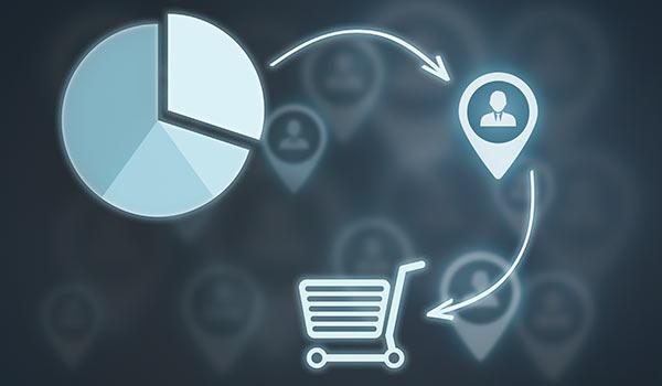 Eine Illustration stellt einen Einkauf dar.