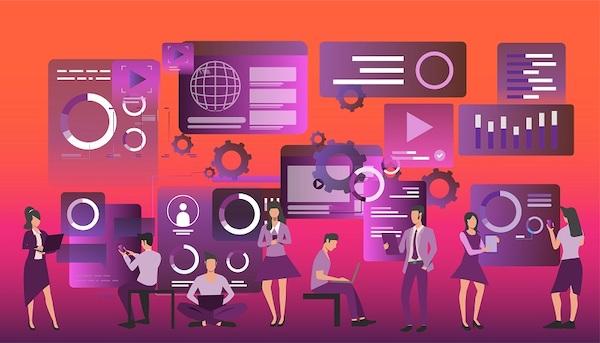 Mitarbeiter eines Unternehmens ändern die digitalen Eigenschaften eines Bildes.