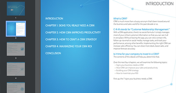 Screenshot of Salesforce CRM eBook's table of contents.
