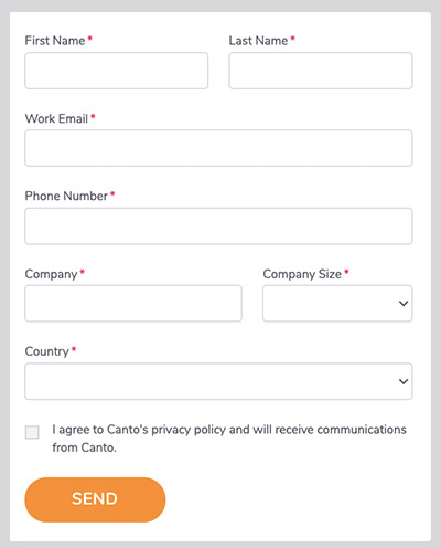 Email capturing form asking for company information.