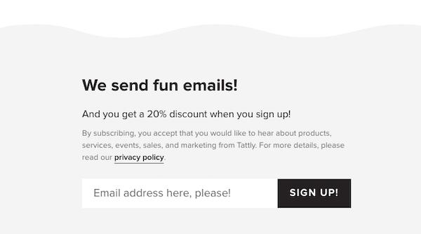 Screenshot of email sign-up pop-up form on website.