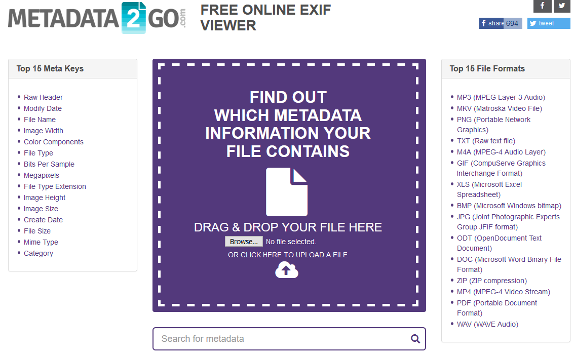 The Metadata2go website.