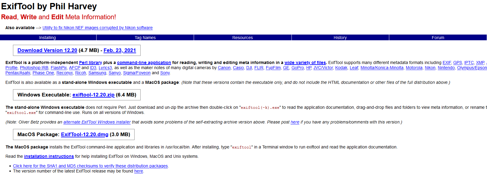 The ExifTool website.