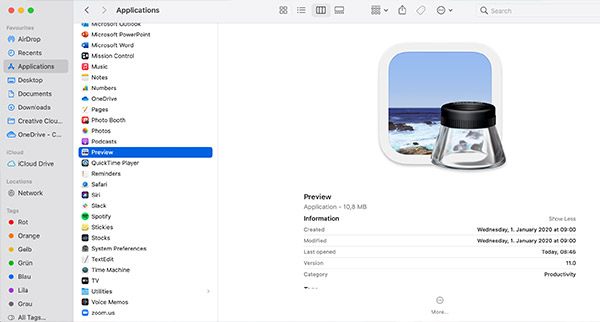 The Mac Preview interface.