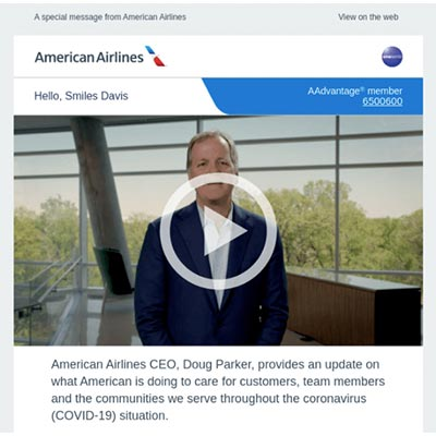 Screenshot from an American Airlines email, including a video message from their CEO.