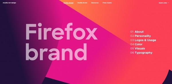 Der Brand Styleguide von Firefox.