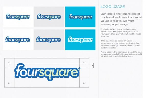 Der Styleguide für das Logo von Foursquare.