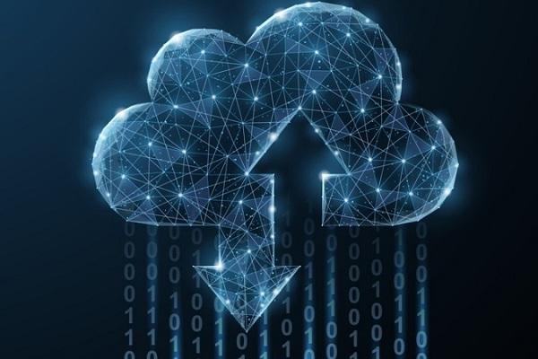 Digitale Darstellung einer Wolke, in die Daten hoch– und heruntergeladen werden.