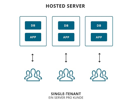 Schema eines Single-Tenant-System via Hosted Server.