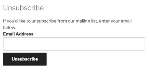 Ein Formular zur Abmeldung von einer E-Mail.