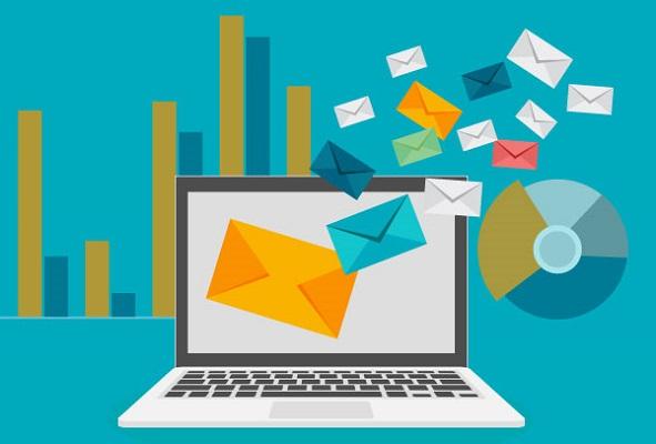 Abbildung von E-Mails, die aus einem Laptop-Computer strömen, wobei im Hintergrund Grafiken zur E-Mail-Auswertung zu sehen sind.