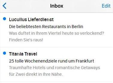 E-Mail-Betreffzeilen, die Städte nennen.