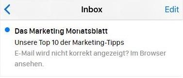 Beispiel für einen nicht genutzten Vorschautext bei einer E-Mail.