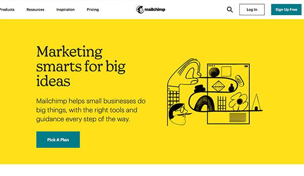 Die Webseite von MailChimp.