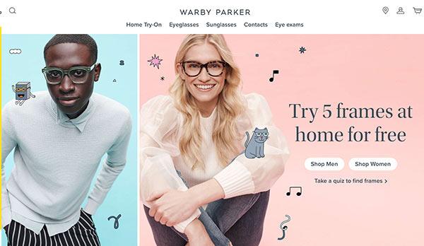 Die Webseite von Warby Parker.