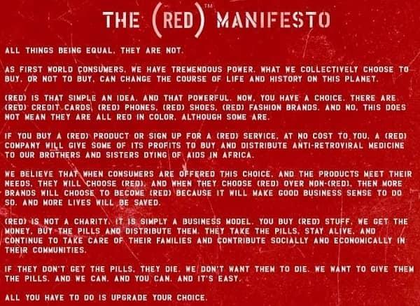 Das Markenmanifest von (RED) in Worten.