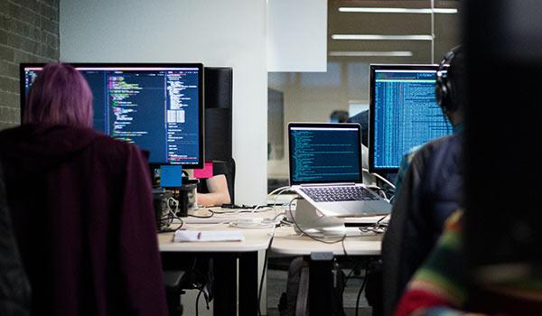 Zwei Programmierer schreiben Code für eine Software.