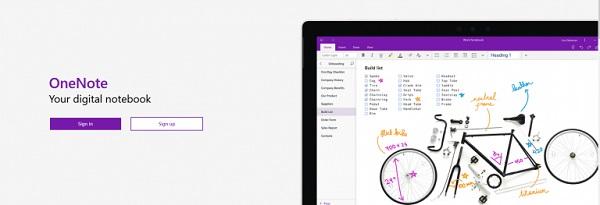 Die Webseite von Microsoft OneNote.
