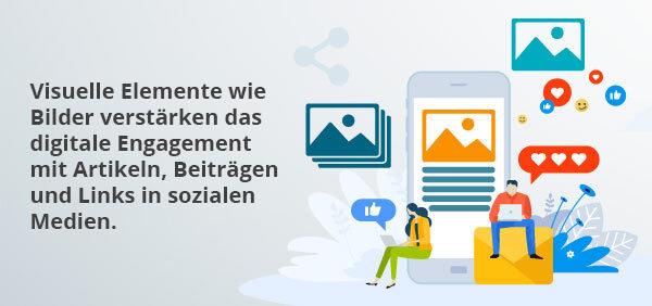 Eine Infografik beschreibt den Zusammenhang zwischen visuellen Elementen und dem Engagement der Kunden.