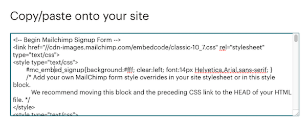 HTML generated by Mailchimp to embed an email sign-up form on a website.