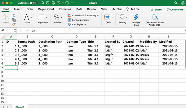 Data entered on a spreadsheet digitally.