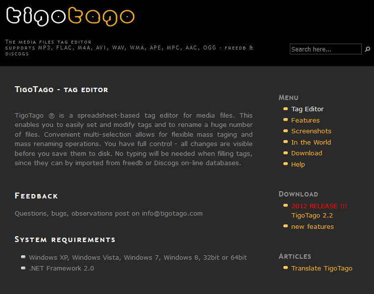 The TigoTago interface.