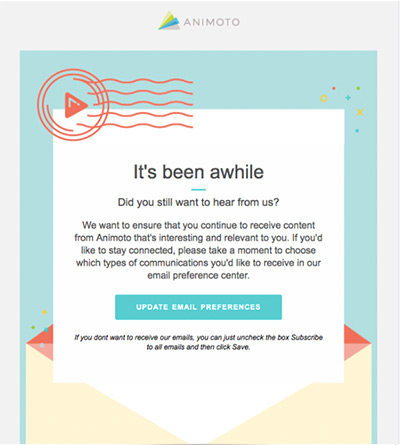 Screenshot of an Animoto re-engagement email.