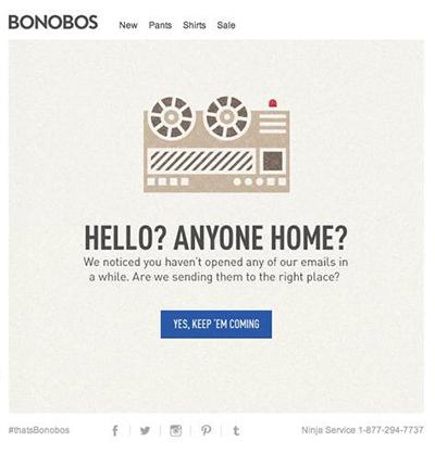 Screenshot of a Bonobos re-engagement email.