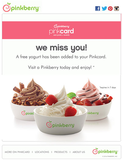 Screenshot of a Pinkberry re-engagement email.