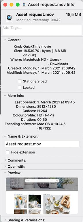 An info option on Mac.