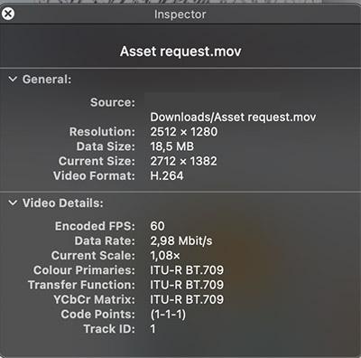 A mov inspector on Mac.