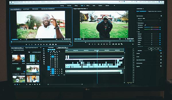 A computer editing a video.