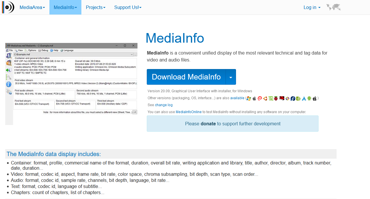 The Mediainfo site page.