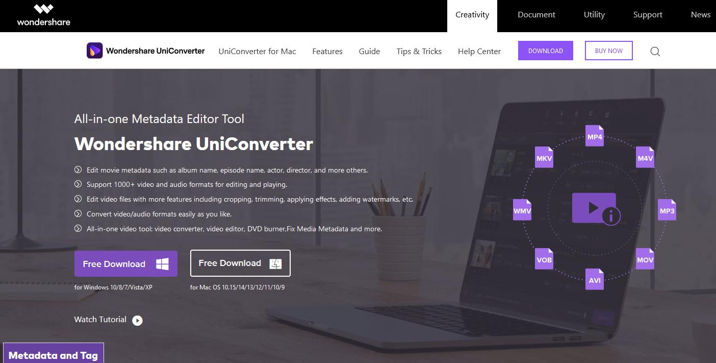 The Wondershare website.