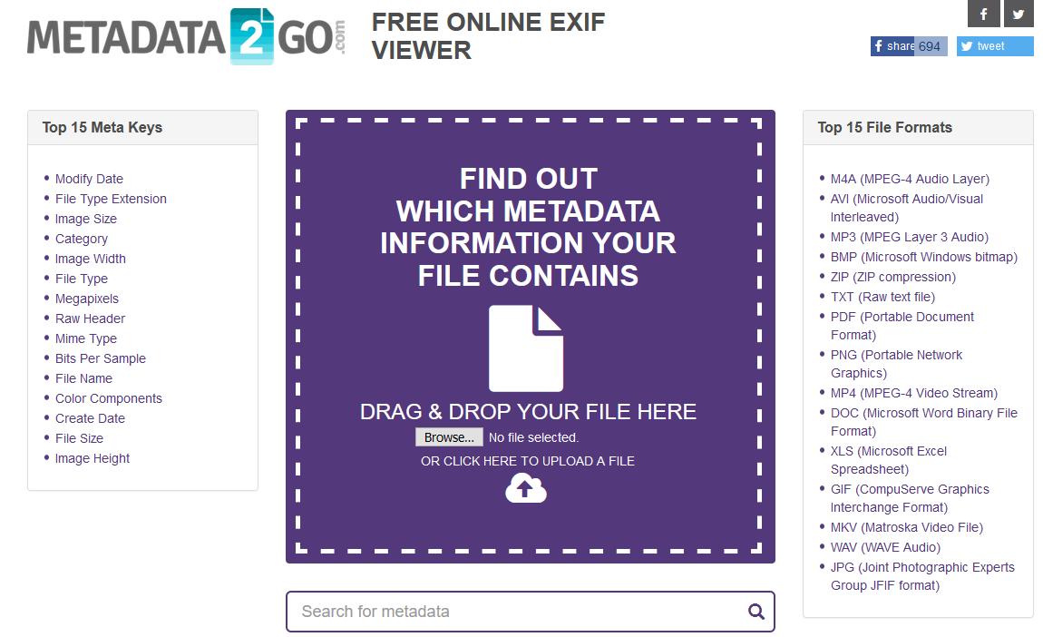 Metadata2go website interface.